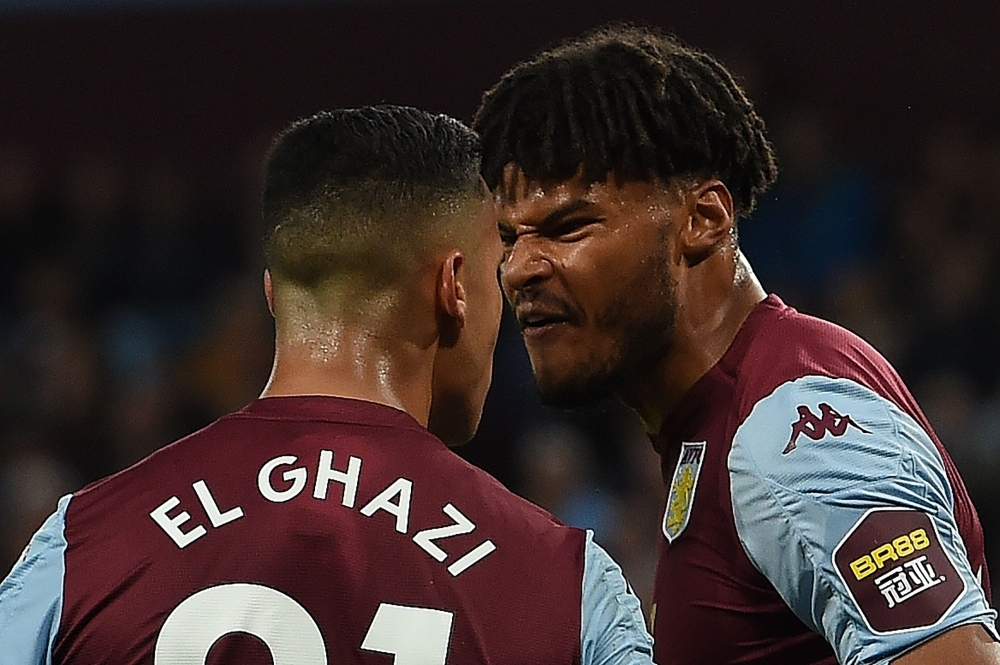 Aston Villa's Dutch striker Anwar El Ghazi (L) remonstrates with teammate Aston Villa's English defender Tyrone Mings during the English Premier League football match between Aston Villa and West Ham United at Villa Park in Birmingham, central England, on Monday. — AFP