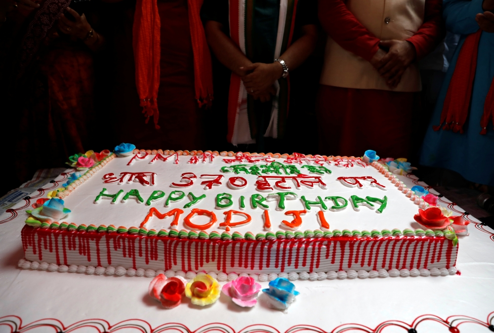 A cake is seen during an event to mark Indian Prime Minister Narendra Modi's birthday at a school, in New Delhi, India, on Tuesday. — Reuters