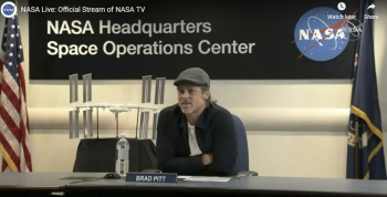 This NASA TV frame grab obtained Monday shows US actor Brad Pitt during a live conversation with NASA officials and astronaut Nick Hague. -AFP