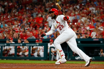 Marcell Ozuna of the St. Louis Cardinals drives in two runs with a ground-rule double against the Washington Nationals in the seventh inning at Busch Stadium in St Louis, Missouri, on Monday. — AFP