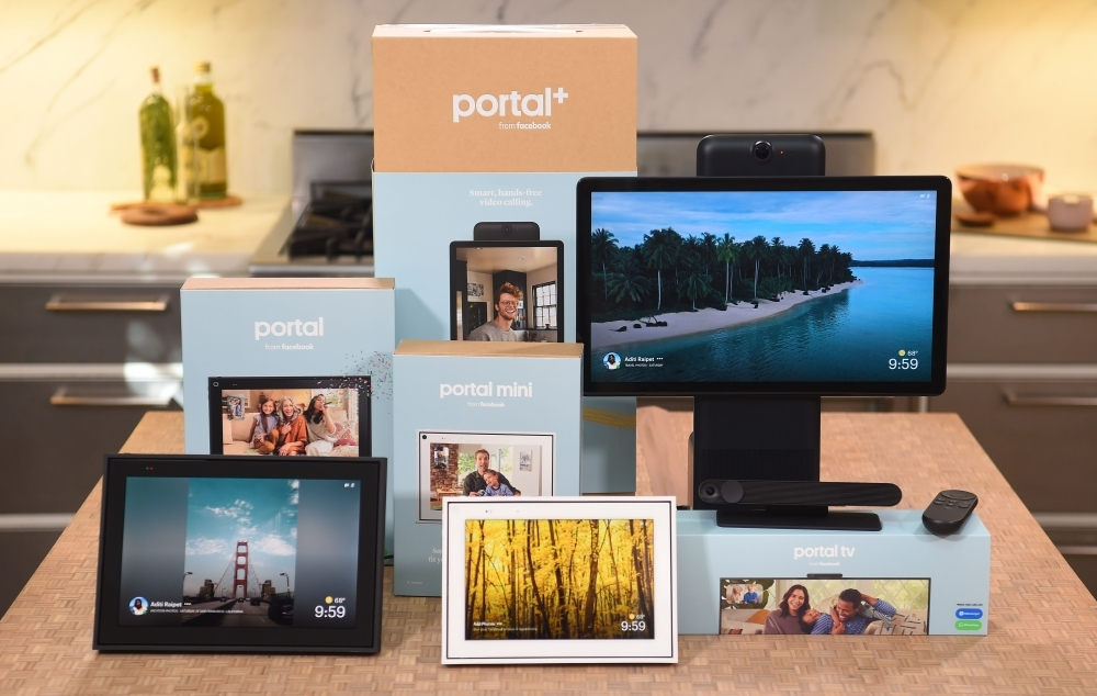 A suite of Facebook Portal products is seen on display during a media event held in San Francisco, California. Facebook on Wednesday unveiled second-generation Portal smart screens, touting them as a way to stay connected to loved ones at the leading social network. Facebook also pushed down costs to make new Portal, Portal Mini, and Portal TV devices more enticing to consumers at a starting price of $129. — AFP