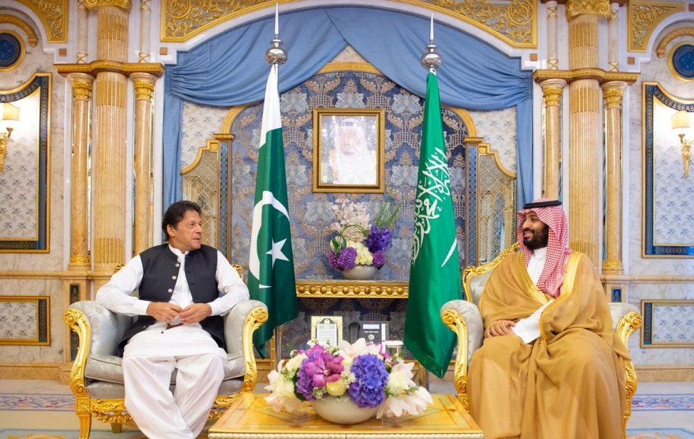 Crown Prince Muhammad Bin Salman meets with Pakistan's Prime Minister Imran Khan in Jeddah, Saudi Arabia, on Thursday. — Reuters