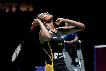 India's Pusarla Sindhu reacts during her final women's singles match against Japan's Nozomi Okuhara in the 2019 Badminton World Championships at the St. Jakobshalle Basel, Basel, Switzerland on Aug. 25, 2019. — Reuters