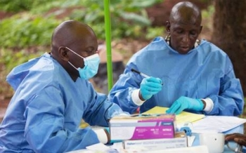 Health workers who facilitate Ebola vaccinations. –Courtesy photo