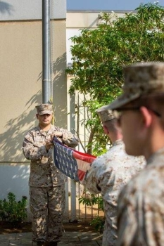 US Consulate General Jeddah's Marine Security Guard Detachment lowers the flag at the former location in Al-Hamra district for the last time after 65 years on Sept. 20. The flag was raised shortly thereafter at the new Consulate in Al-Mohammadiyah District. — Courtesy photo