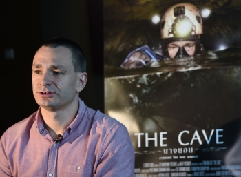 Belgian diver Jim Warny, who took part in the Thai cave rescue mission in 2018, speaks during an interview in Bangkok on Tuesday. -AFP