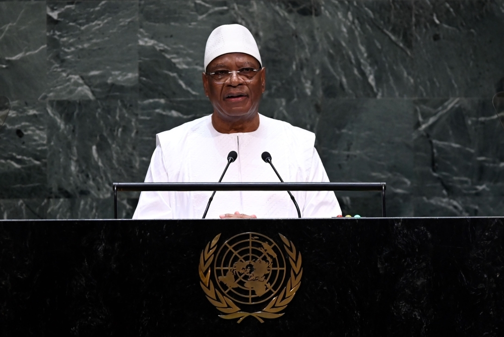 Malian President Ibrahim Boubacar Keita speaks during the 74th Session of the General Assembly at the United Nations headquarters in New York on September 26, 2019. -AFP