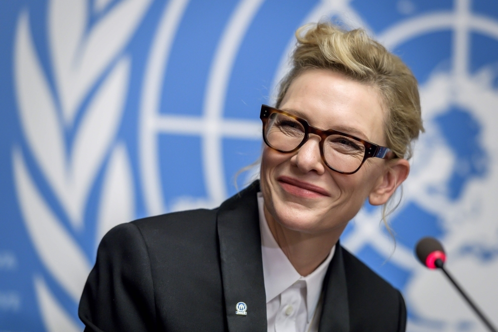 Australian actress and UNHCR ambassador Cate Blanchett attends a press conference during an UNHCR executive committee meeting in Geneva on Monday.  — AFP