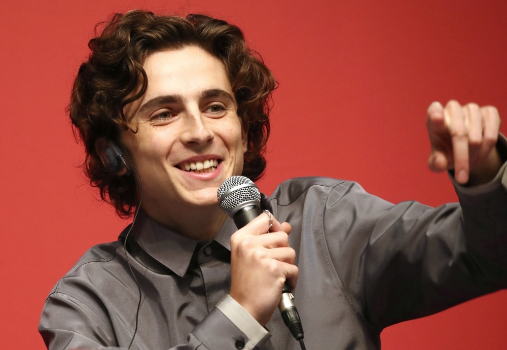 US actor Timothee Chalamet speaks during a press conference of Gala Presentation
