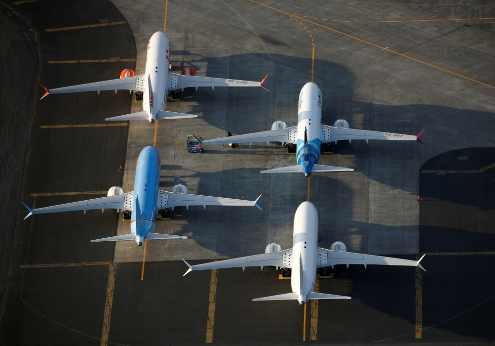 An aerial photo shows Boeing 737 MAX aircraft at Boeing facilities at the Grant County International Airport in Moses Lake, Washington, Sept. 16, 2019. — Reuters