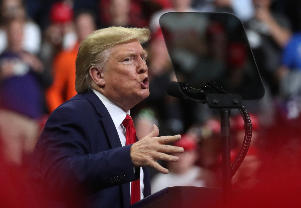 US President Donald Trump holds a campaign rally in Minneapolis, Minnesota, US, Thursday. — Reuters