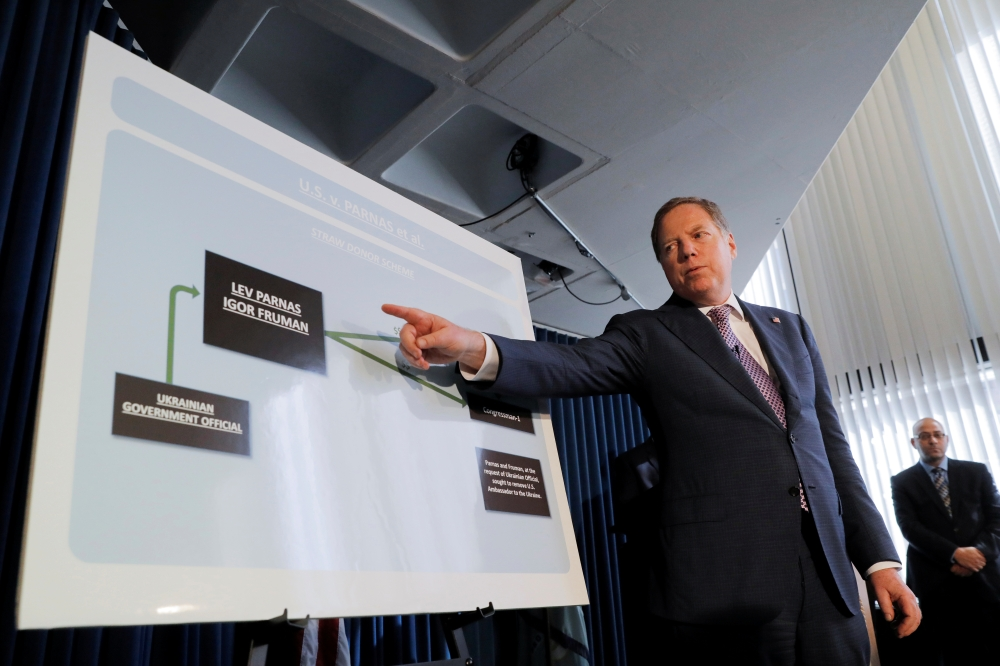 US Attorney for the Southern District Geoffrey S. Berman speaks at a news conference on the indictment of Lev Parnas, Igor Fruman, David Correia and Andrew Kukushnin for various charges related to violations of US federal election laws in New York City, US, Thursday. — Reuters