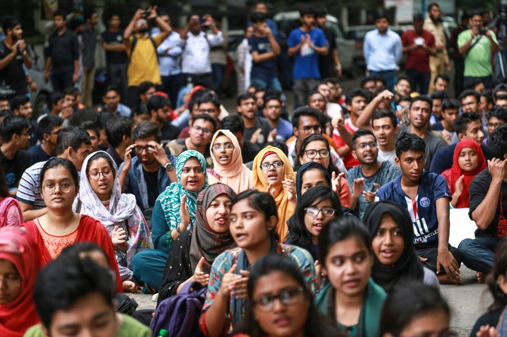 Students of Bangladesh University of Engineering and Technology (BUET) block a road and take part in a protest in Dhaka on Thursday, after a pupil was allegedly beaten to death by ruling party activists. — AFP