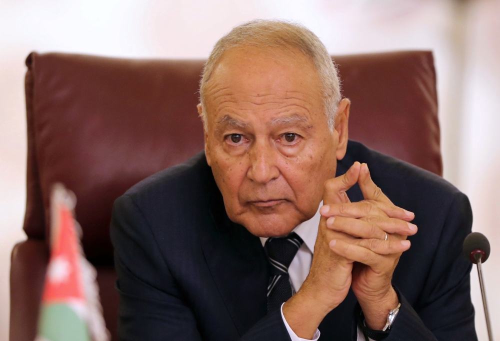Secretary General of the Arab League Ahmed Aboul Gheit attends the Arab Foreign Ministers extraordinary meeting to discuss the Syrian crisis in Cairo, Egypt on Saturday. — Reuters