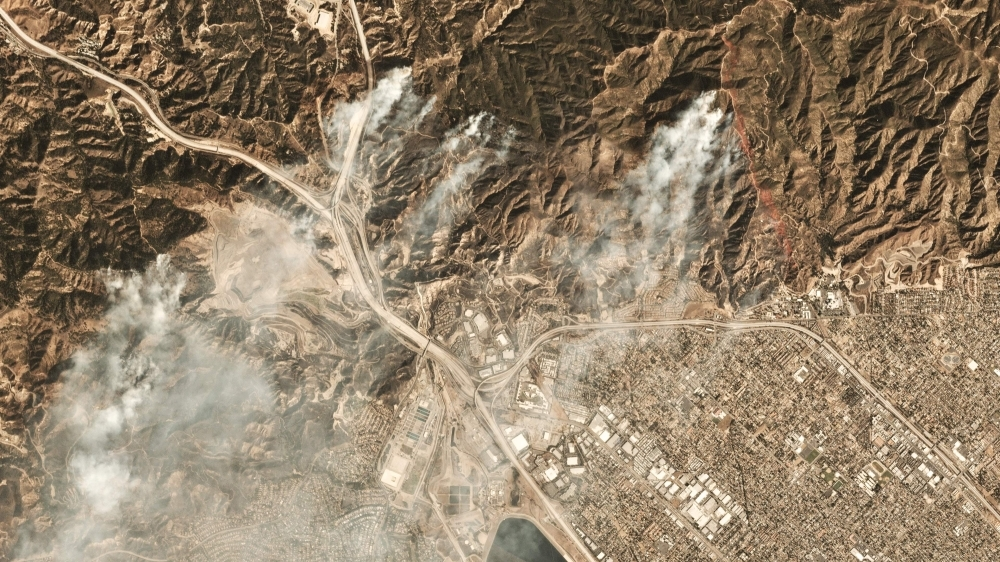 This image courtesy of Planet Labs Inc., shows smoke from the Saddleridge Fire about 20 miles (32kms) north of downtown Los Angeles on Friday. Wind-driven wildfires forced the evacuation of about 100,000 people in southern California and destroyed dozens of structures and homes as authorities warned it could take days to extinguish the flames. By Friday evening, the strongest blaze, dubbed the Saddleridge Fire, had consumed 7,542 acres (3,052 hectares) in areas of the San Fernando Valley, fire officials said. — AFP