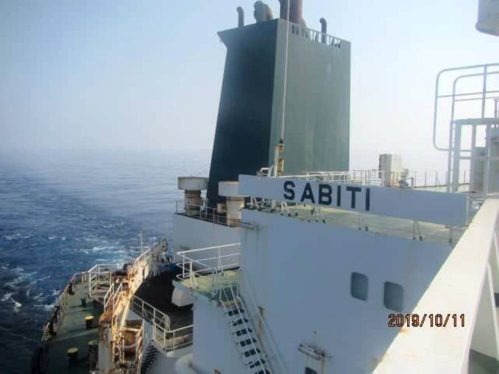 An undated picture shows the Iranian-owned Sabiti oil tanker sailing in Red Sea. — Reuters
