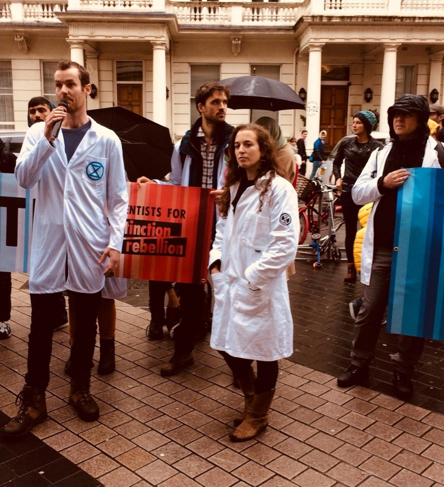 Scientists aligned with Extinction Rebellion gather in London, Britain to declare their support of mass civil disobedience to force governments to act on climate change, on Saturday. -Reuters