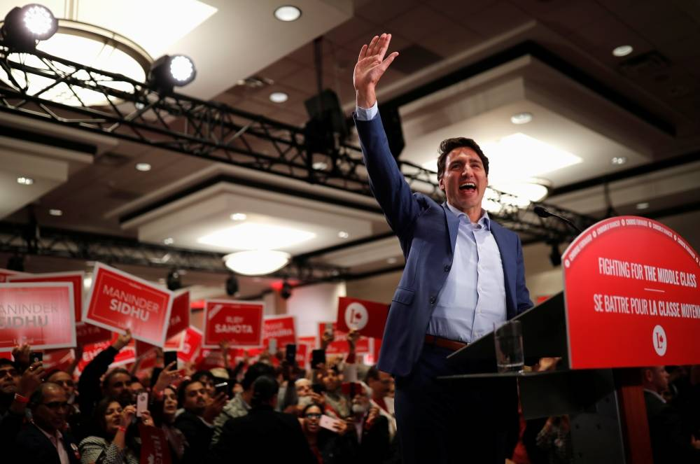 Liberal leader and Canadian Prime Minister Justin Trudeau attends a rally during an election campaign visit to Mississauga, Ontario, Canada on Saturday. -Reuters