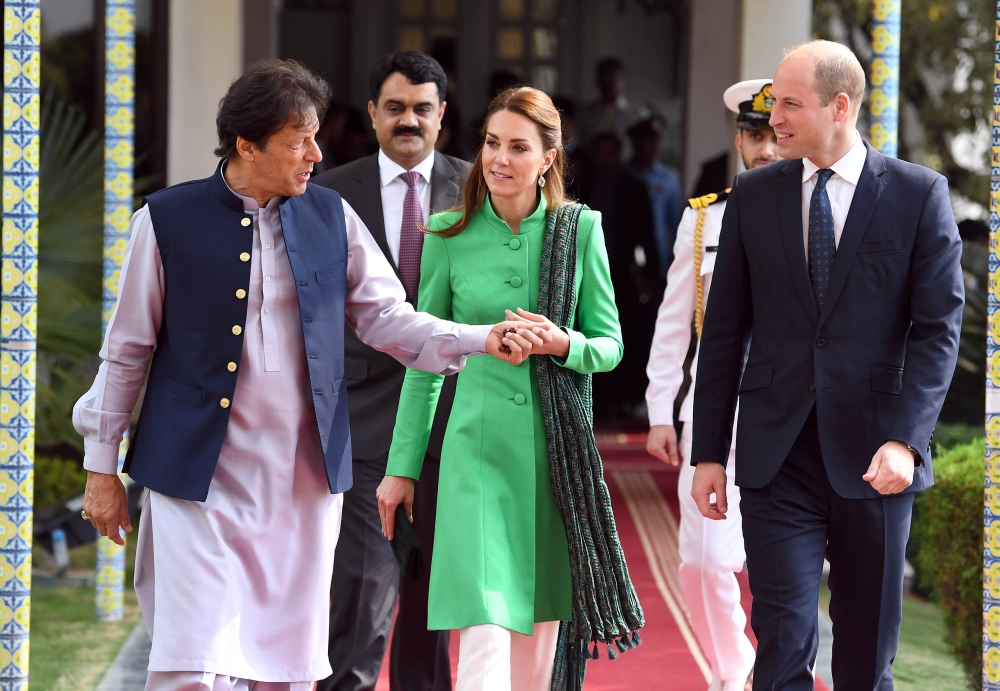 Britain's Prince William and Catherine, Duchess of Cambridge attend a meeting with Pakistan's Prime Minister Imran Khan in Islamabad, Pakistan, on Tuesday. — Reuters