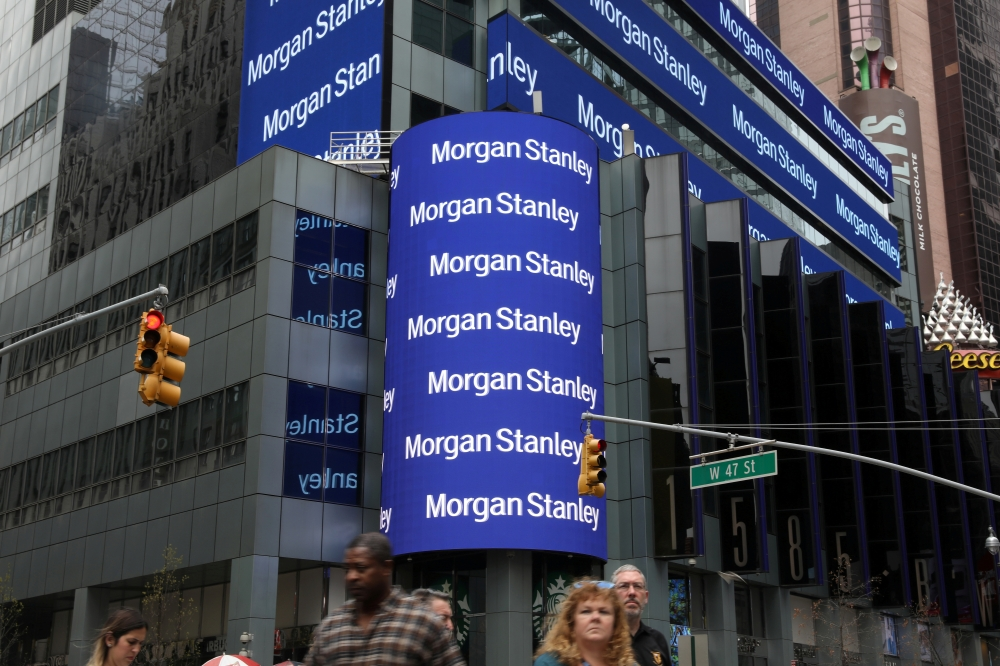 The corporate logo of financial firm Morgan Stanley is pictured on the company's world headquarters in New York, US on Thursday. — Reuters