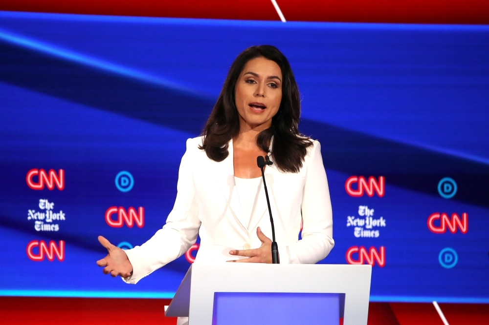 Rep. Tulsi Gabbard (D-HI) speaks during the Democratic Presidential Debate at Otterbein University in Westerville, Ohio, in this on Oct. 15, 2019 file photo. — AFP