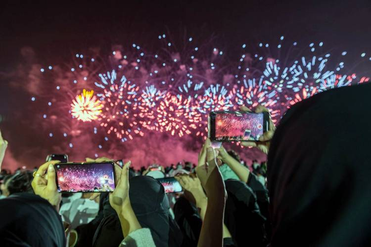 On the Riyadh Season inauguration night, the most magnificent fireworks show was launched from several locations, so that they could be seen all over the capital. — Okaz/SG photo by Sami Bugis
