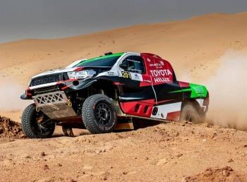 Yazeed Al-Rajhi wins Rally Qassim 2019 in his Toyota.