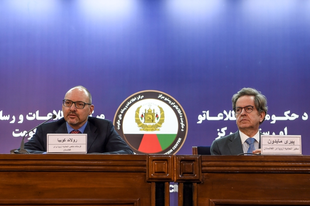EU Special Envoy for Afghanistan Roland Kobia (left) and EU Ambassador to Afghanistan Pierre Mayaudon look on during a press conference in Kabul, Sunday. — AFP
