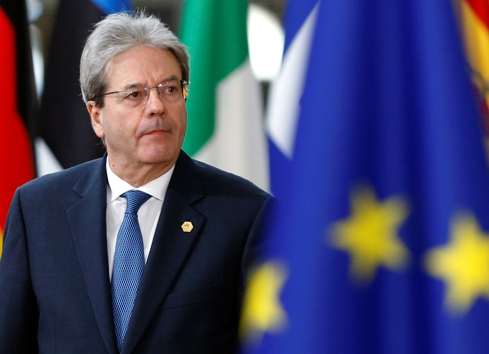EU economics commissioner Paolo Gentiloni, pictured when Italian prime minister arriving at a European Union leaders summit in Brussels, Belgium, March 22, 2018. - Reuters