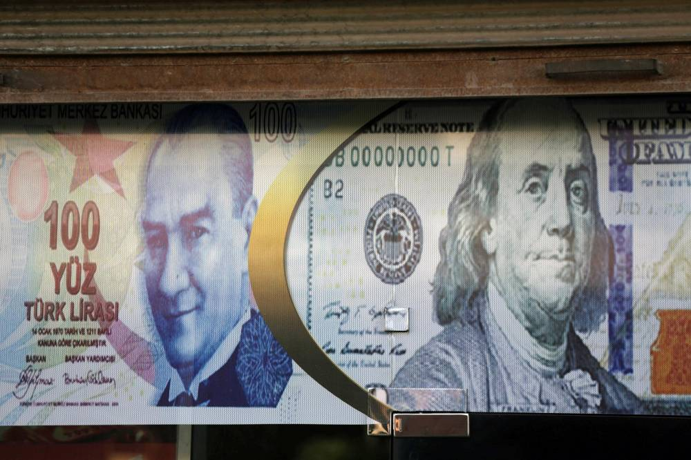 Posters of US dollar and Turkish lira are seen on a currency exchange shop in the city of Azaz, Syria August 18, 2018. — Reuters