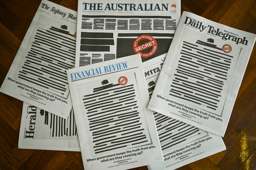 Front pages of major Australian newspapers show a 'Your right to know