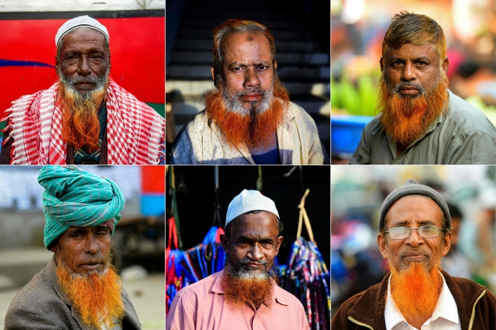 This combination of pictures created on Jan. 24, 2019 shows men with henna-dyed beards in Dhaka on Dec. 24, 2018. — AFP