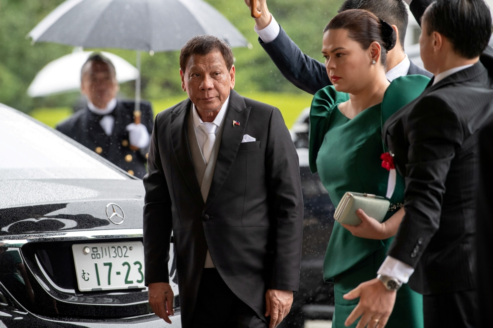 Philippines President Rodrigo Duterte arrives to attend the enthronement ceremony of Japan's Emperor Naruhito in Tokyo, Japan, on Tuesday. — Reuters