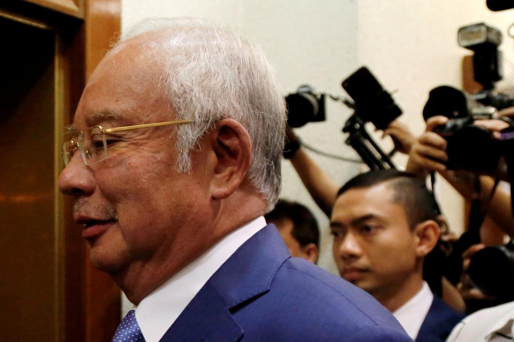 Former Malaysian Prime Minister Najib Razak arrives at Kuala Lumpur High Court in Kuala Lumpur, Malaysia, in this Aug. 28, 2019 file photo. — Reuters