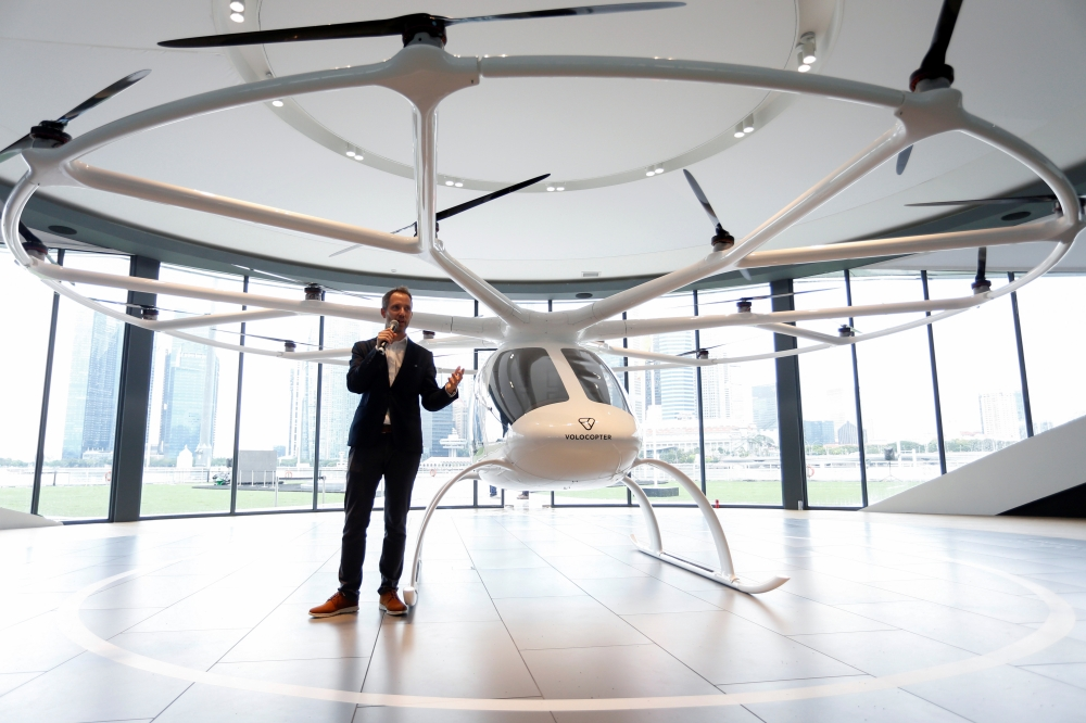 Florian Reuter, CEO of German startup Volocopter, speaks to the media in Singapore on Tuesday. — Reuters