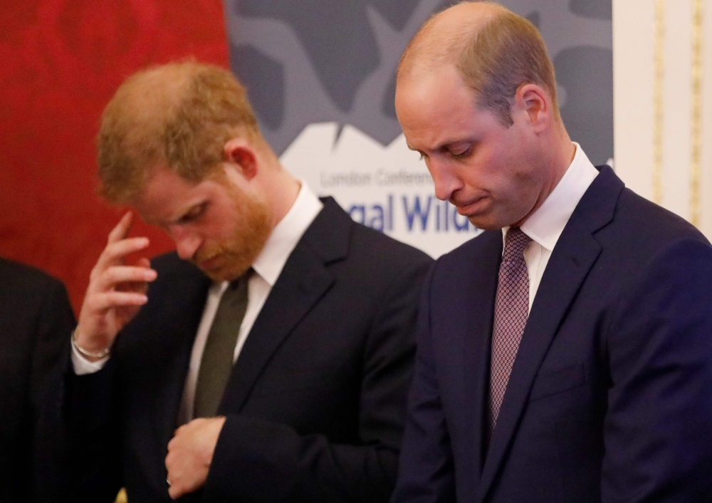 In this file photo taken on Oct. 10, 2018 Britain's Prince William, Duke of Cambridge, right, and Britain's Prince Harry, Duke of Sussex, host a reception to officially open the 2018 Illegal Wildlife Trade Conference at St James' Palace in London. — AFP