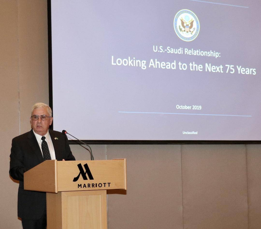 US Ambassador to Saudi Arabia John P. Abizaid addresses members of the American Business Group of Riyadh in the Saudi capital, Tuesday. — Courtesy photo