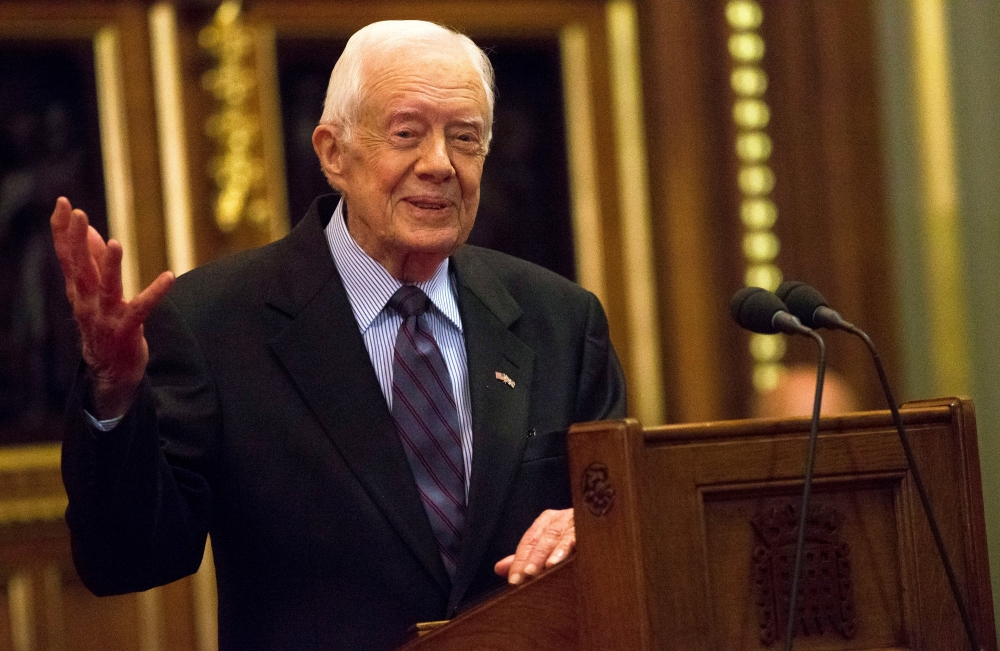 Former US President Jimmy Carter delivers a lecture on the eradication of the Guinea worm at the House of Lords in London in this Feb. 3, 2016 file photo. — Reuters