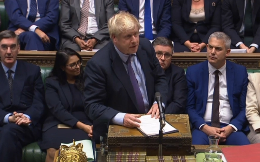 A video grab from footage broadcast by the UK Parliament's Parliamentary Recording Unit (PRU) shows Britain's Prime Minister Boris Johnson speaking after the program motion setting out the proposed timetable for the Brexit withdrawal Agreement Bill was defeated in a vote in the House of Commons in London on Tuesday. — AFP