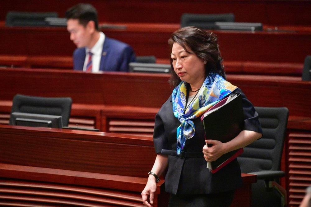 Hong Kong Justice Chief Teresa Cheng arrives before the official withdrawal of the extradition bill at the Legislative Council complex in Hong Kong on Wednesday. — AFP