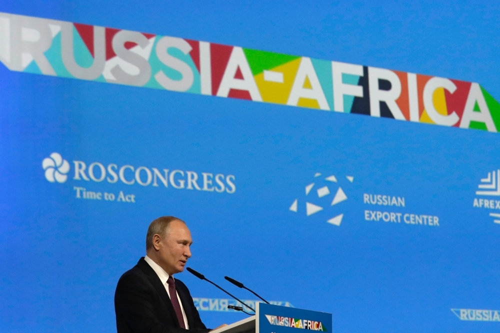 Russian President Vladimir Putin gives a speech at a plenary session of the 2019 Russia-Africa Summit in Sochi, Russia, on Wednesday. — AFP