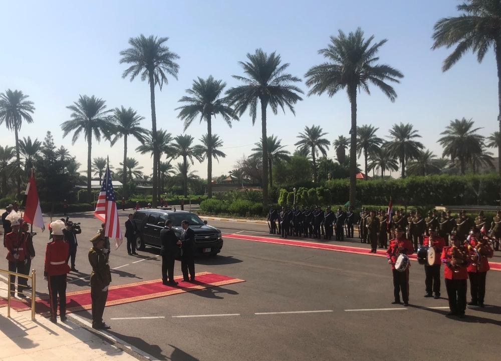 US Defense Secretary Mark Esper meets Iraq's Defense Minister Najah Al-Shammari at the Ministry of Defense in Baghdad, Iraq, on Wednesday. — Reuters