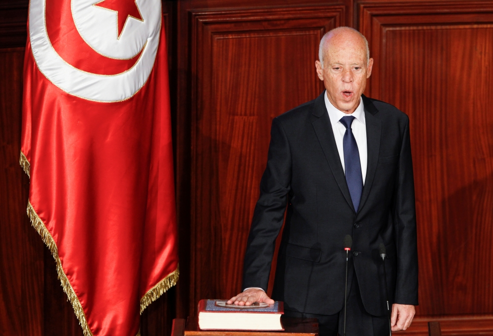 Tunisia's elected president Kais Saied takes the oath of office at the Assembly of People's Representatives in Tunis, Tunisia, on Wednesday. — Reuters
