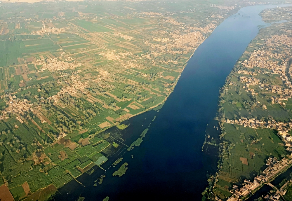 A general view of The Nile River, houses and agricultural land from the window of an airplane in Luxor, Egypt, in this Oct. 9, 2019 file photo. — Reuters