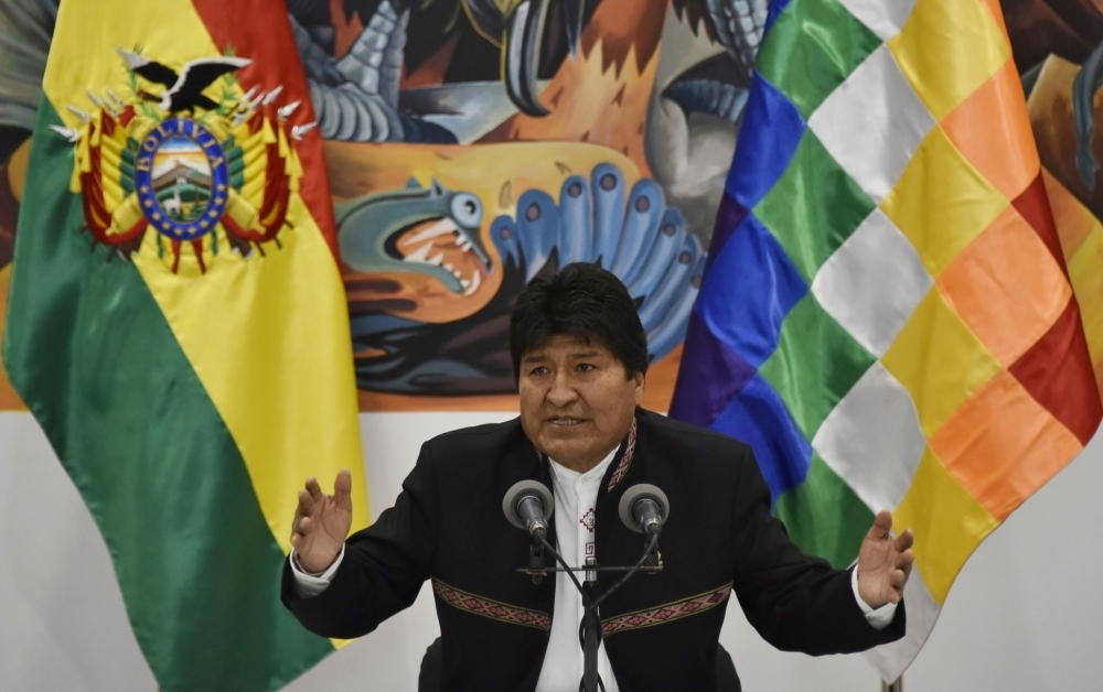Bolivia's President and presidential candidate Evo Morales speaks during a press conference at the Casa Grande del Pueblo (Great House of the People) in La Paz on Wednesday. — AFP