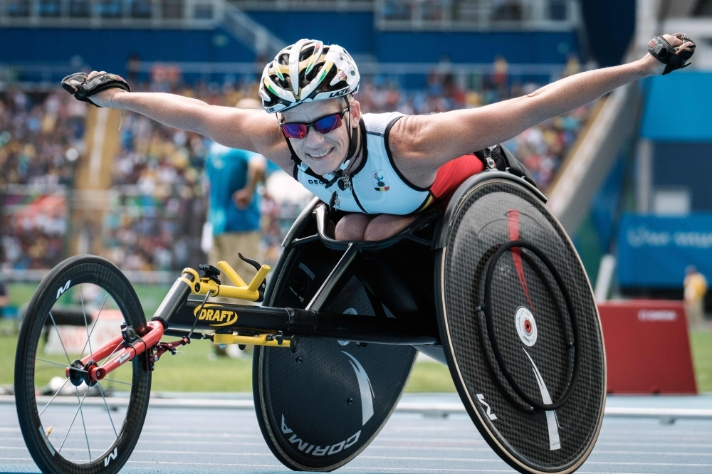 Belgium's Marieke Vervoort reacts after winning the silver medal for the women's 400 m (T52) of the Rio 2016 Paralympic Games at the Olympic Stadium in Rio de Janeiro in this Sept. 10, 2016 file photo. — AFP