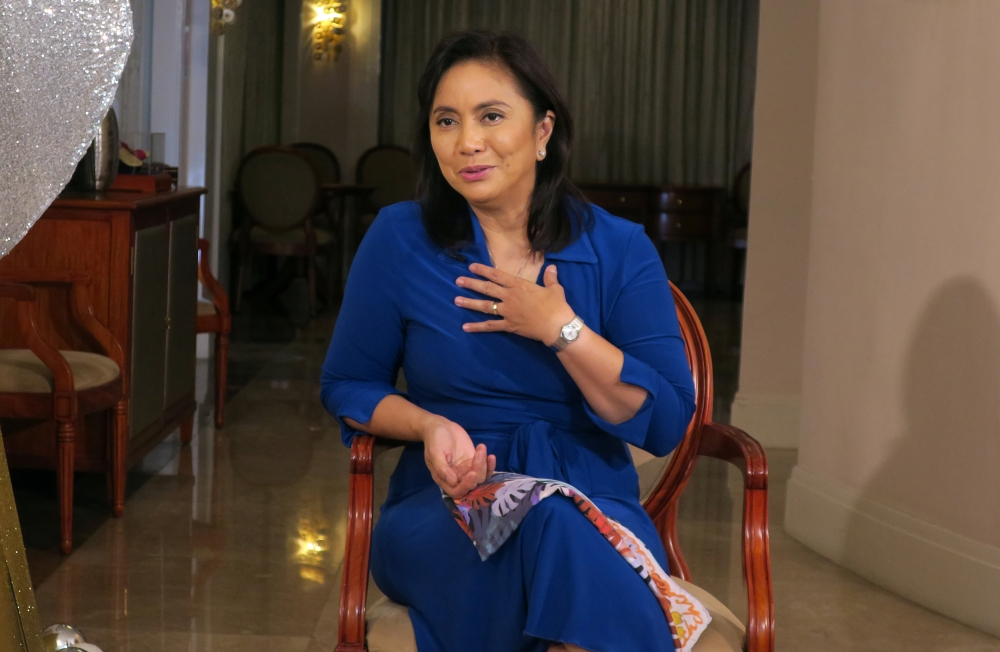 Philippine Vice President Maria Leonor Robredo speaks during an interview in Quezon City, Metro Manila, Philippines, on Wednesday. — Reuters