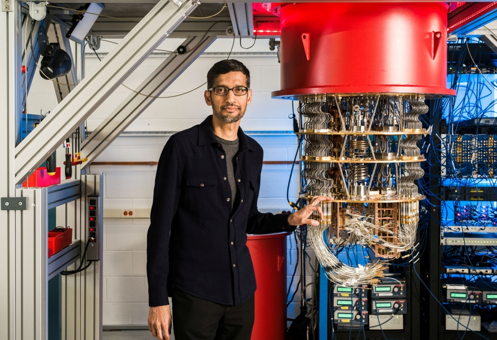 A handout picture from shows Sundar Pichai with one of Google's Quantum Computers in the Santa Barbara lab, California. — Reuters