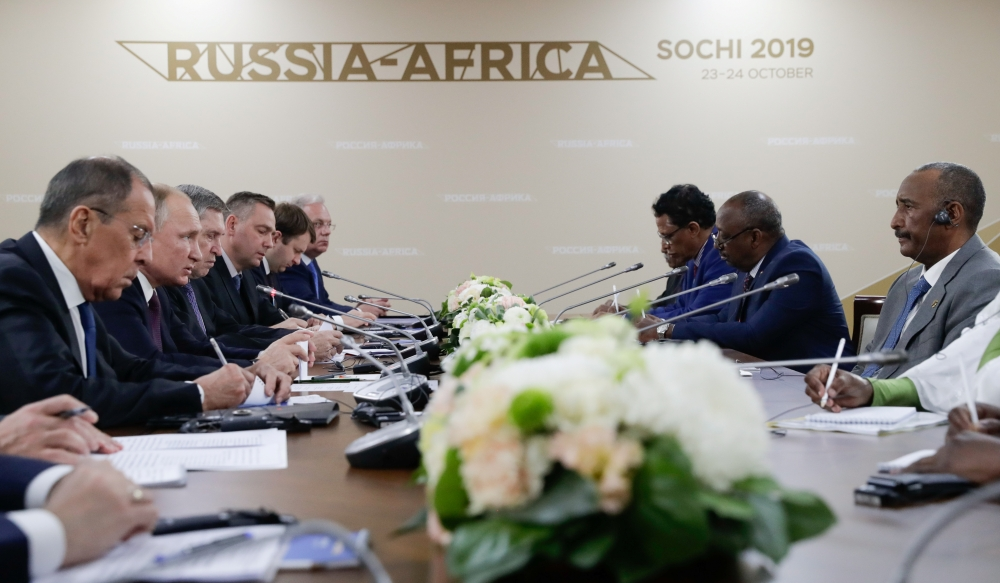 Russia's President Vladimir Putin, head of Sudan's transitional sovereign council Abdel Fattah Al-Burhan and other officials attend a meeting on the sidelines of the Russia-Africa Summit in Sochi, Russia on Wednesday. — Reuters