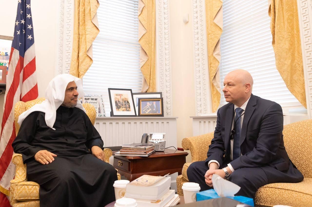 Secretary General of the Muslim World League Sheikh Dr. Muhammad Bin Abdulkarim Al-Issa meets with White House adviser Jason Greenblattat the White House in Washington DC.